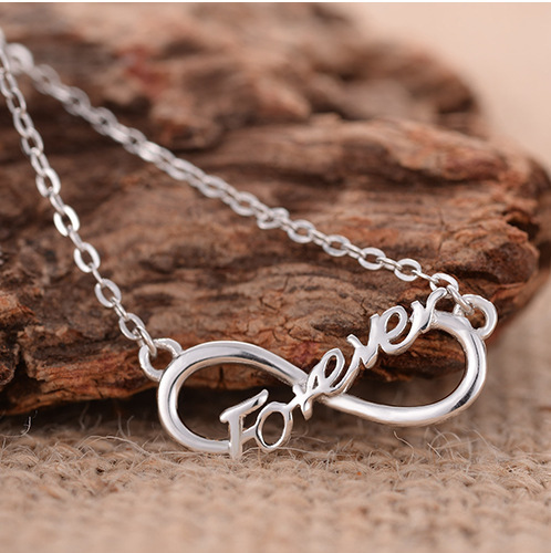 Danki Brand Jewelry Girl's 925 Silver Chain Necklace Infinity Forever Choker Chain Rose Gold Plated Necklace Friendship Gift
