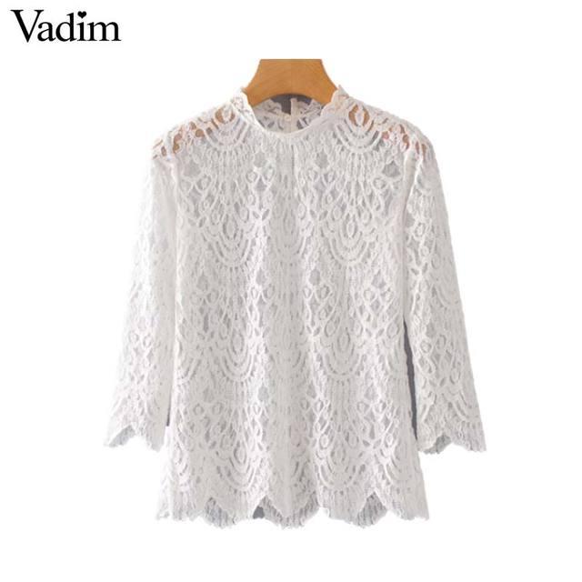 3e52f6211e1caa Vadim elegant transparent lace blouse see through three quarter sleeve ruffled  collar shirts white black chic