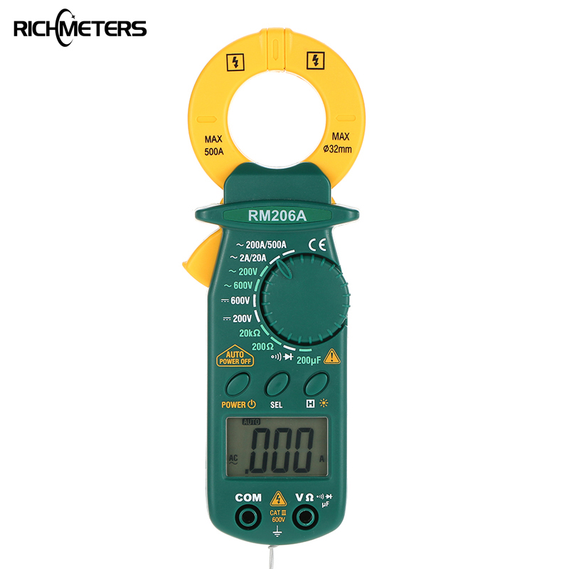 RICHMETERS RM206A Digital Clamp Meter Multimeter 1999 counts Backlight AC/DC Voltage Ohm Electronic Portable Meter