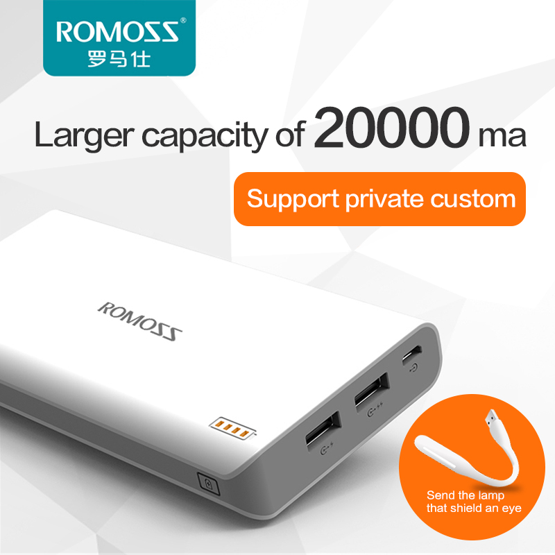 ROMOSS power supply 20000mAh USB External Mobile protable charger Powerbank font b Battery b font for