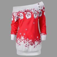 Sexy Christmas Dress Women Long Sleeve Santa Print Off Shoulder Shirt Dress Women Clothing Vestidos WS4610M