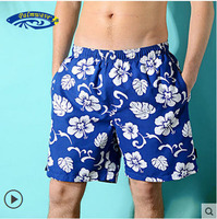 2015 Men Casual Loose Beach Pants Fashion Flower Size S 2Xl Board Shorts Male Print Leisure