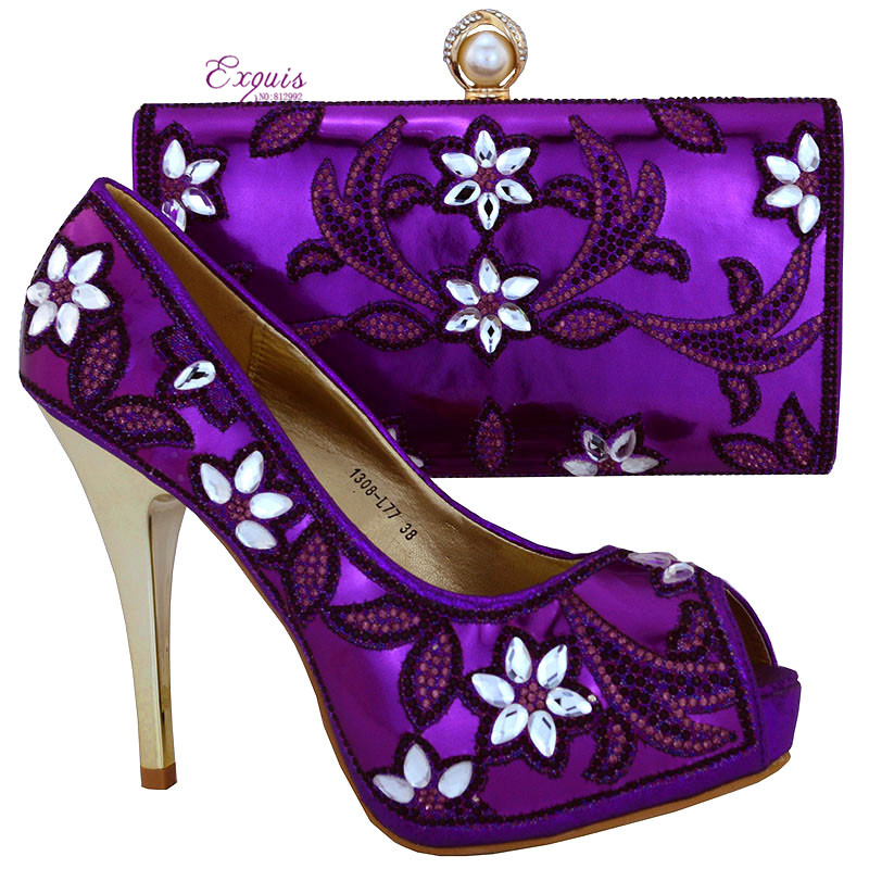 ФОТО 2016 The latest italy design high-quality fashion shoes and matching bags Italy desige purple color item 1308-L77