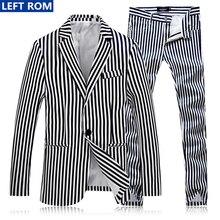 2017 New Fashion Stripes Male Suit Coat Business Wedding Banquet Best Comfort Clothing Size S-4XL Men' Suits Jackets+ Men Pants