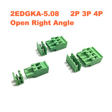 5Sets Pitch 5.08mm 2P 3P 4P Screw Plug-in PCB Terminal Block 2EDGKA 2EDGR  Right angle Pin male/female Pluggable Connector 15A стоимость