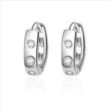 Everoyal Vintage Heart Hollow Crystal Hoop Earrings For Women Accessories Fashion Lady 925 Silver Earring Female Jewelry Girls
