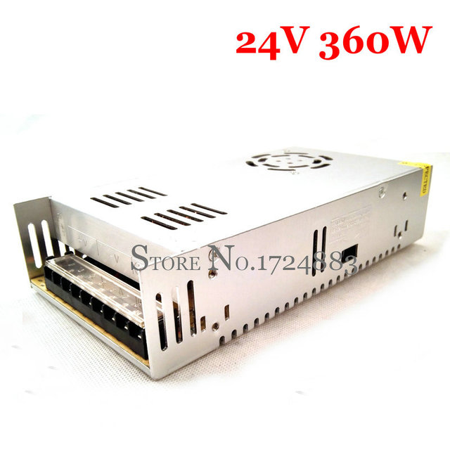 FreeShipping 24VDC 15A 360W Switching Power Supply Driver for Industrial equipment AC 100~240V Input to DC 24V