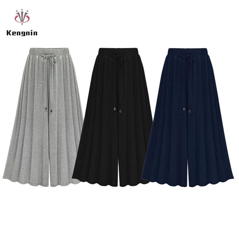 2019 Summer Autumn Elastic Waist Women   Wide     Leg     Pants   Loose Ladies Trouser Free Size Casual   Pant   European Style Bow Brand Capris