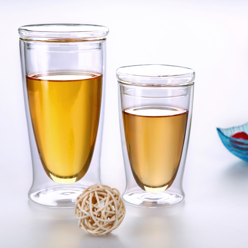 Cup Crystal-Clear Glass-Cup Heat-Resistant Borosilicate Double-Layer with Lid Tea-Mugs