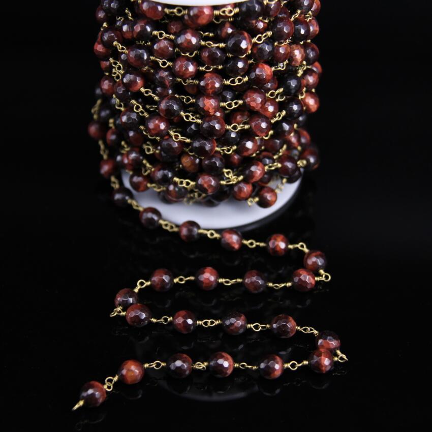 8mm facettes naturel rouge œil de tigre perles rondes chapelet chaîne, pierres précieuses perles lien en laiton fil enroulé chaîne Bracelet colliers