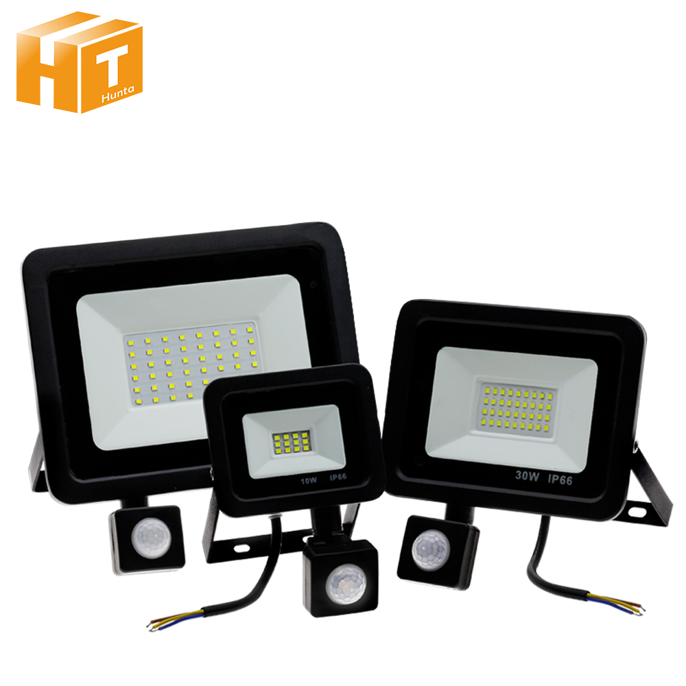 PIR Sensor LED Spotlight AC220V 10W 30W 50W PIR Induction Switch LED Floodlight For Doorway Garage Street Lighting.