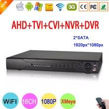 Hi3531A 16CH Two SATA Coaxial Hybrid 1080P Full HD 2MP Surveillance Video Recorder 5 in 1 NVR TVI CVI AHD CCTV DVR Free Shipping