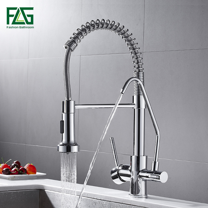 FLG Spring Style Kitchen Faucet Filter Water Faucet Pull Down Rotate Taps Swivel Multifunction Water Outlet Mixer Tap 1021-33C