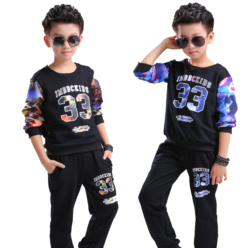 Boy Tracksuit Clothes Print 2pcs / set Kids Autumn Cotton School  Uniform Sport Suit children Clothing Sets 6 8 10 12 14 16 year dm 009 2015 hot sale handmade damascus stee folding survival camping hunting knife free shipping