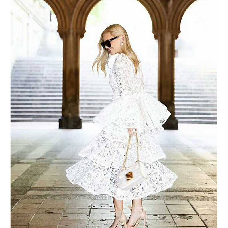 HIGH QUALITY New Fashion 2018 Designer Runway Dress Women s Flare Sleeve Lace Cascading Ruffle Dress