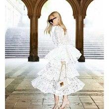 Высокое качество Новая мода дизайнерское подиумное Платье женское с расклешенными рукавами кружевное Каскадное платье с оборками