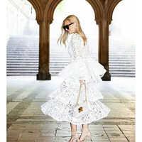 Haute qualité nouvelle mode 2018 concepteur piste robe femmes Flare manches dentelle cascade robe à volants