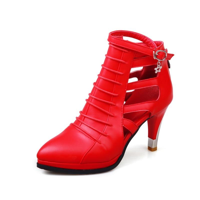 ФОТО Spring/Autumn Women Shoes Women's Pumps Gladiator High Heel Thin Heels Fashion Casual Zip Pointed Toe Narrow Band Platform