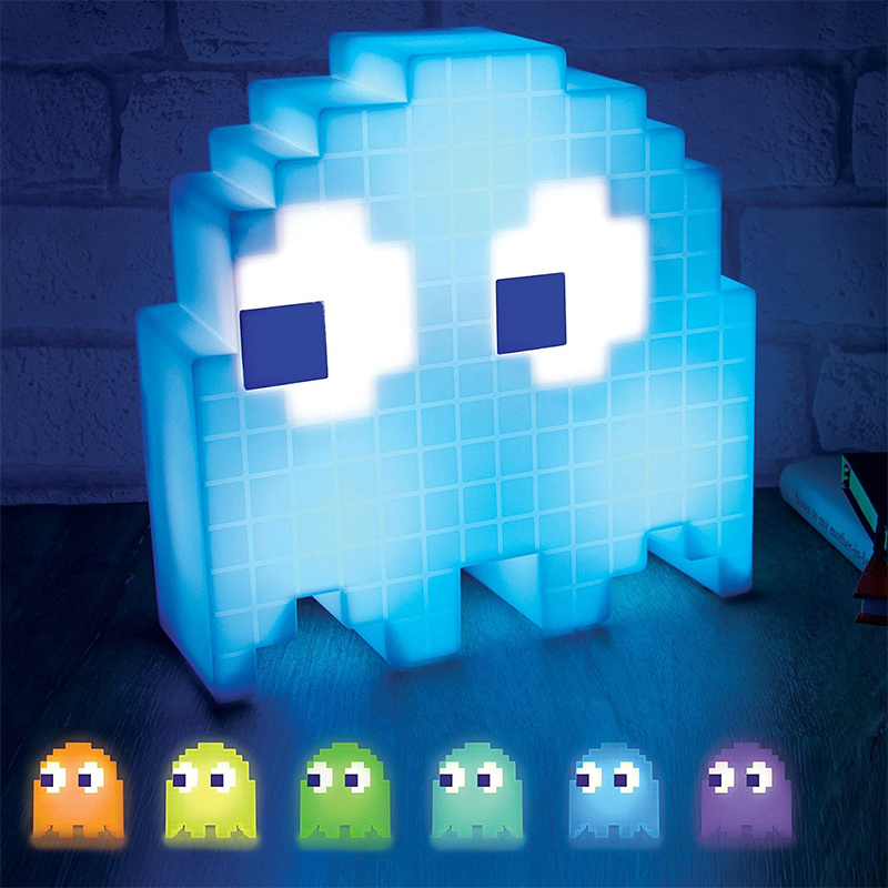 Color Changing Cartoon Ghost Lamp Led Mini USB Night Light 8 Bit Mood Light  Pixel