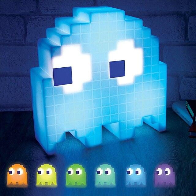 Цвет изменение мультфильм призрак лампа светодио дный Mini-USB ночник 8-бит настроение свет пикселей Стиль ребенок детские мягкие лампа Спальня освещения