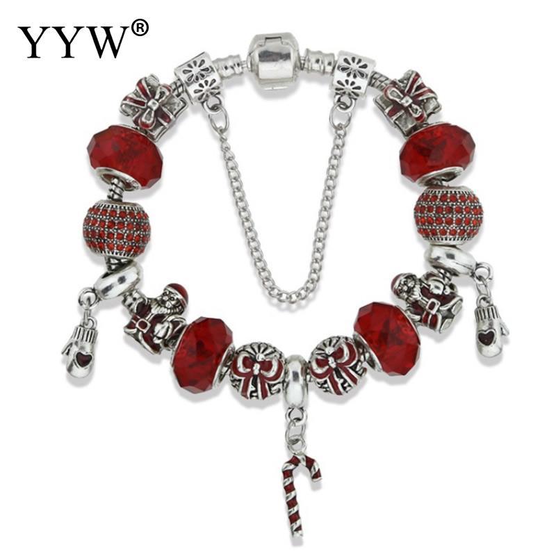 Праздник Санта Клаус браслет Европейский Стиль Красный Кристалл Бусины браслет для со стразами Для женщин jewelry Рождественский подарок ...