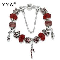 Holiday Santa Claus Bracelet European Style Red Crystal Beads Charm Bracelet For Rhinestone Women Jewelry Christmas
