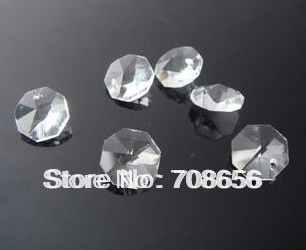2000pcs 14MM CLEAR OCTAGON CRYSTAL GLASS BEADS CHANDELIER GLASS CHAIN PARTS IN ONE HOLE