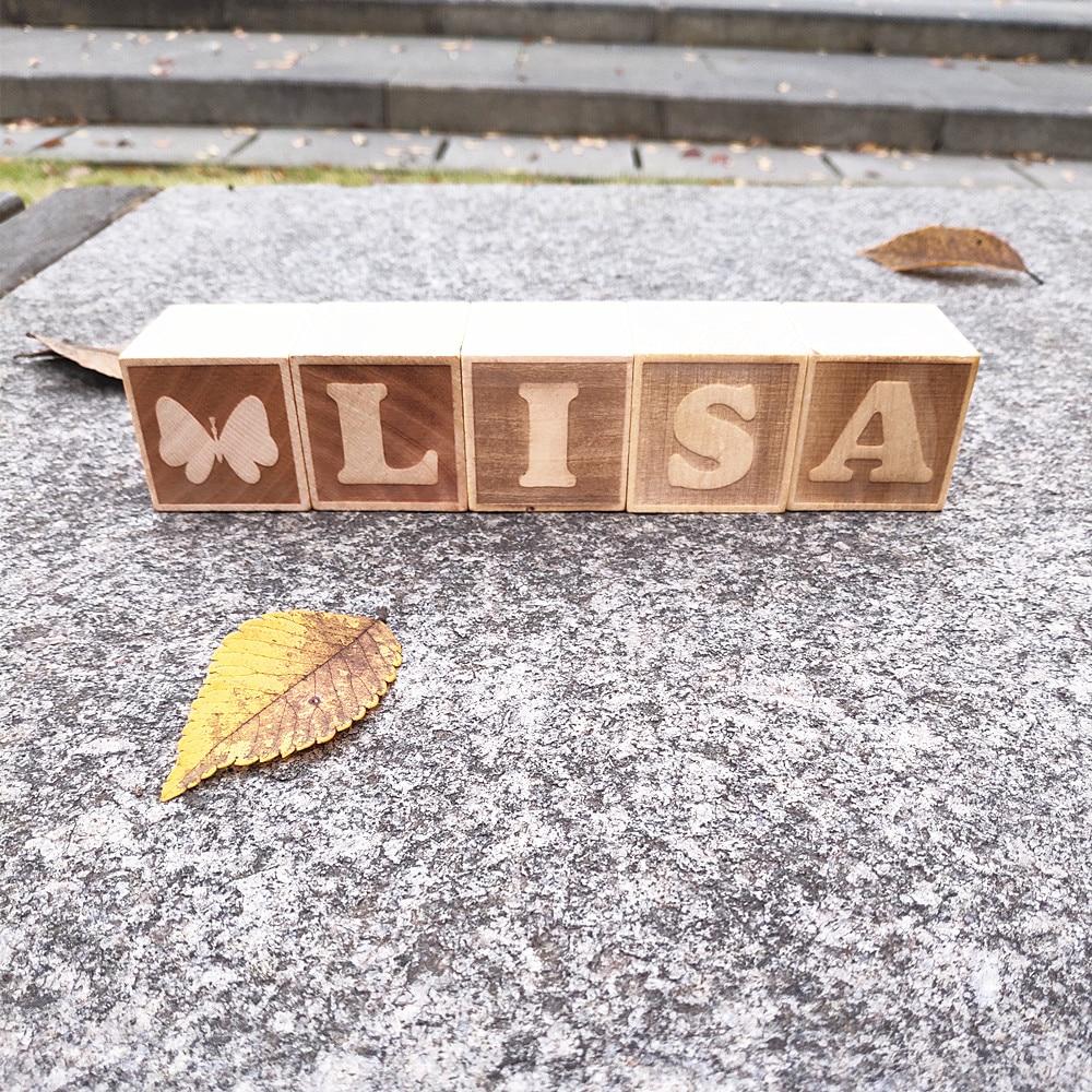 Personalised name letter baby christening wooden blocks gift Price per block