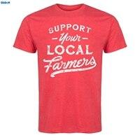 GILDAN Support Your Local Farmers Womens T Shirt Brand Male Short Sleeve Top Men Print Cotton