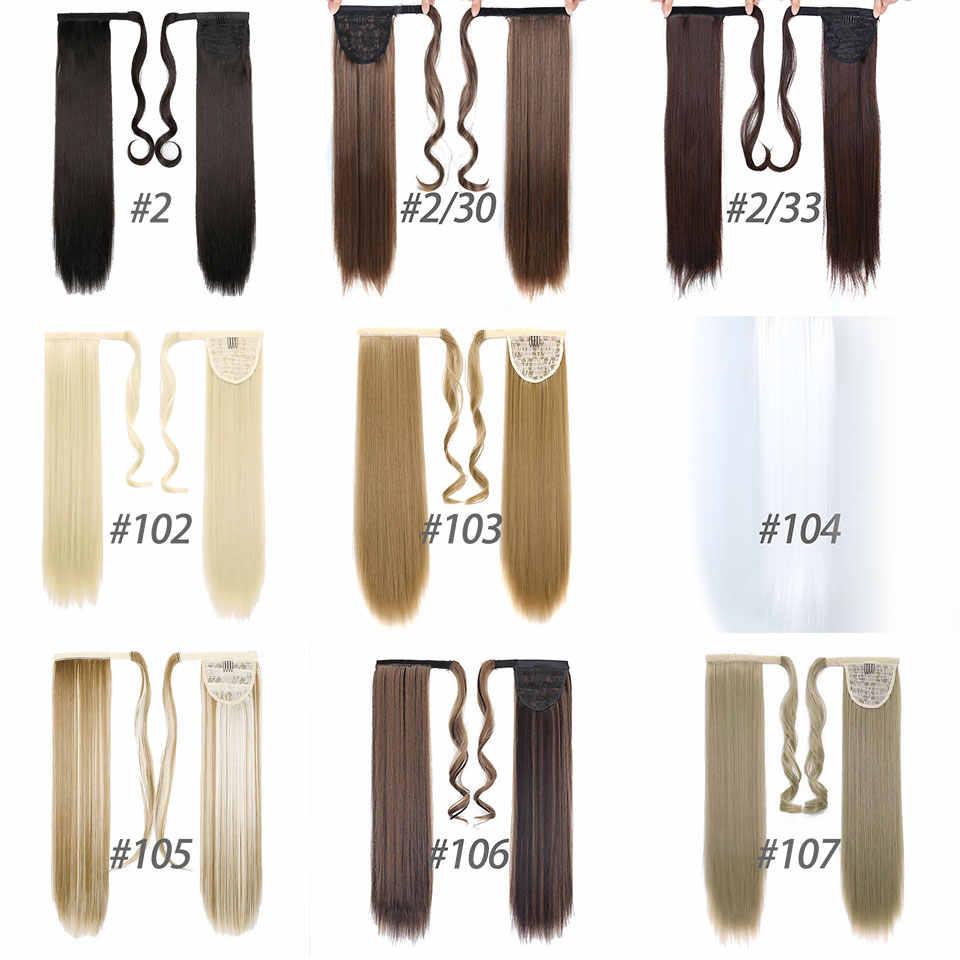 Shangke 2424clip grampo reto longo do rabo de cavalo do cordão no envoltório sintético das extensões da extensão do cabelo na fibra da temperatura do cabelo