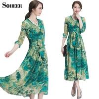 SOHEER 2017 Summer Women Floral Print Dress The New Retro V Neck Silk Dress 4 Colors