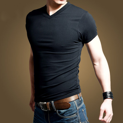 brand 2015 men 39 s v neck t shirt fashion slim fit short. Black Bedroom Furniture Sets. Home Design Ideas