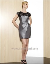 free shipping 2014 new arrival sexy womens vestido de festa formales short lace dress gray taffeta elegant party evening