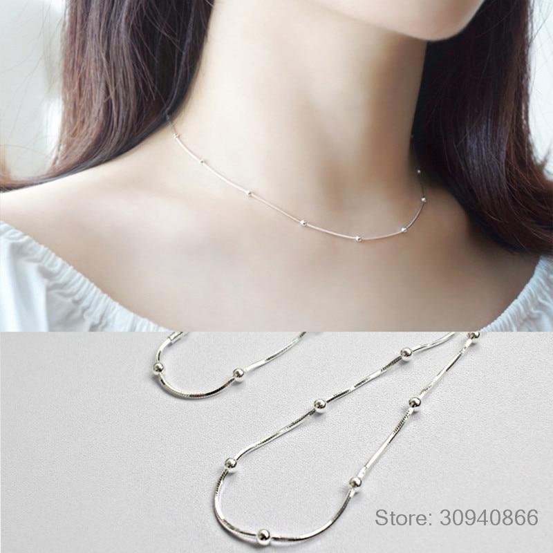 LEKANI Fine Jewelry 925 Sterling Silver Choker Necklace Femme, Minimalism Snake Chain Bead Necklaces For Women Joyas De Plata