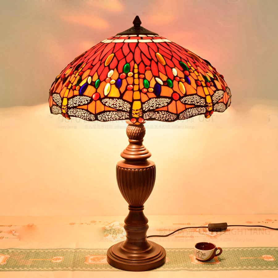 China red glass table lamp china glass table lamp - Diameter 45cm European Tiffany Red Dragonfly Art Personality Desk Lamp Decoration Wedding Gift Table Lamp