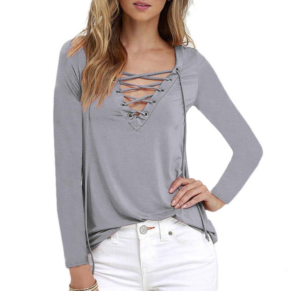 Women's Casual Long Sleeve Blouse V Neck Shirts Strap Shirts