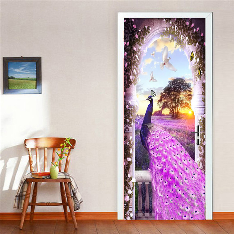 PVC Door Sticker Modern Purple Peacock Dream Lavender 3D Wallpaper Living Room Bedroom Home Decor Wall Decals Vinyl Mural Paste