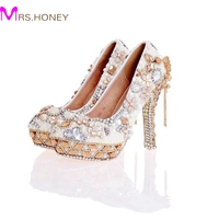 2017 Newest Design White Pearl Wedding Shoes With Matching Bag Gorgeous Handmade High Heels Women Crystal