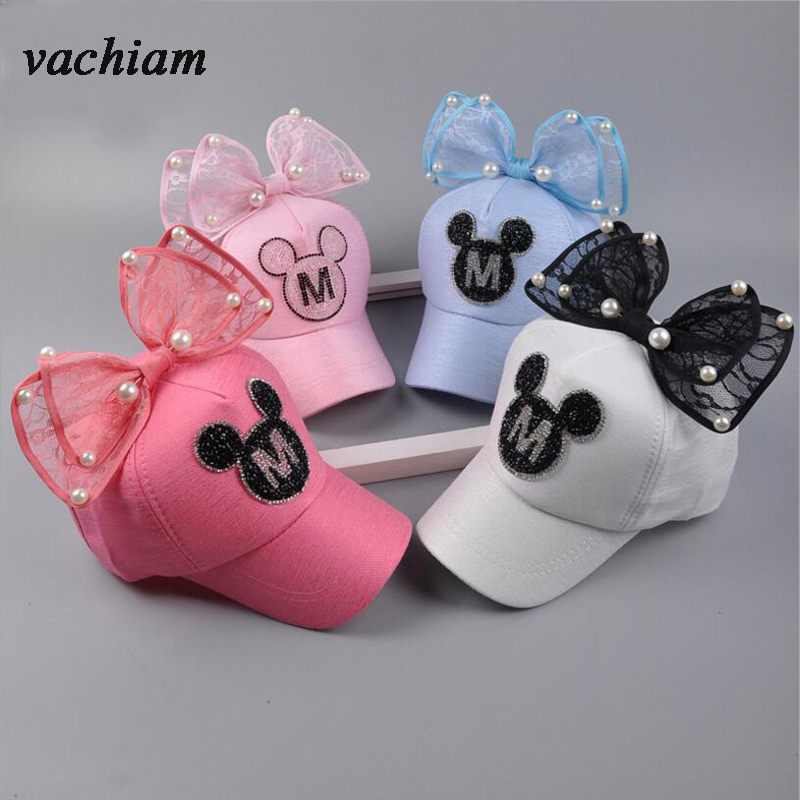 vachiam New Spring fashion Children Baseball Cap Summer Pearl Bow Kids Sun Hat Boys Girls snapback Caps for 2-8 Years Old