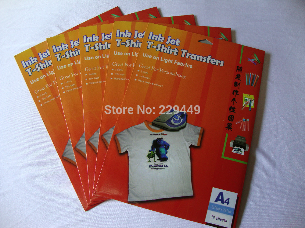 10Sheets/bag A4 Iron On Inkjet Heat Transfer Printing Paper