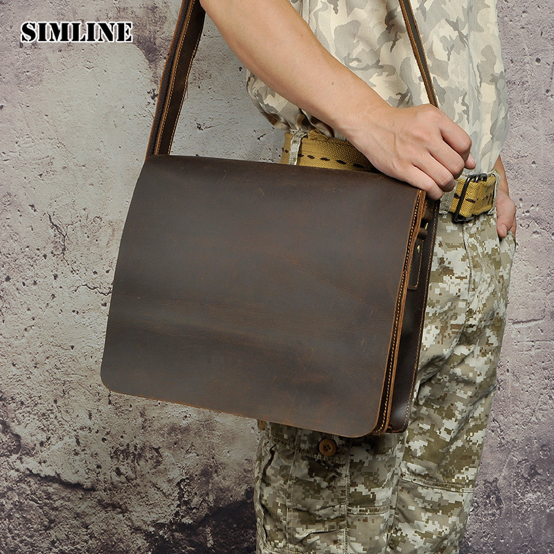 SIMLINE Vintage Genuine Crazy Horse Leather Cowhide Men Men's Messenger Bag Shoulder Laptop Crossbody Bag Laptop Bags For Man simline 2017 vintage genuine crazy horse leather cowhide men men s messenger bag small shoulder crossbody bags handbags for man