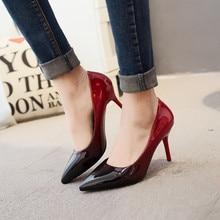 2017 mode England Design Hochzeit Schuhe Lackleder farbverlauf sexy pumps hochzeit schuhe partei Spitzschuh high heels