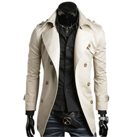 2017 Autumn Trench Coat Men Double Breasted Trench Coat Outwear Coat Male Winter Stylish Fastshipping Clothing U6389