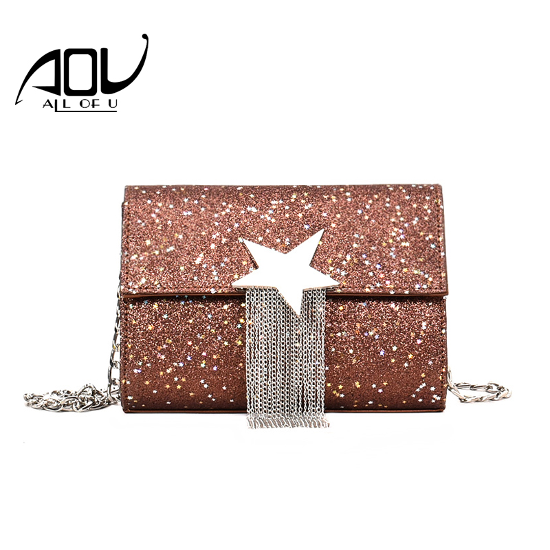 New Woman Evening Bag 2018 Women's Star Sequins Tassel Day Clutch Hand Wallet Purse Party Chain Shoulder Bags Female Handbag evening clutch bag wood rectangle chain wallet travel shoulder