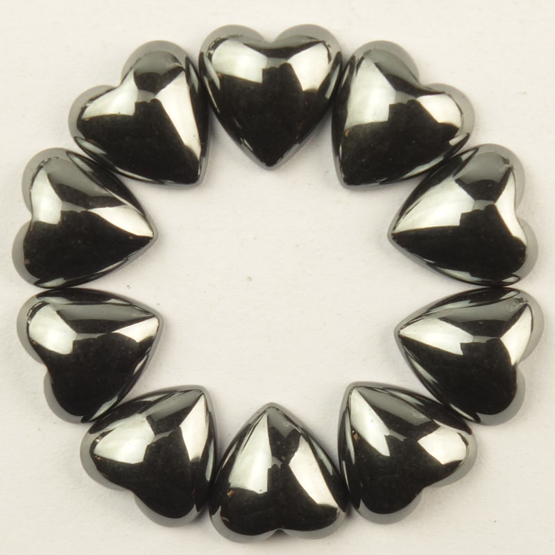 10Pcs 10x10x3mm Black Hematite Heart Cab Cabochon Dw043(Send Randomly)