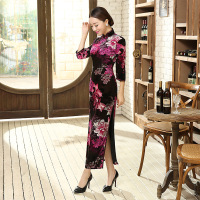 Autumn Hottest Burgundy Classic Chinese Women S Velour Qipao Long Cheongsam Top Prom Gown Dress Flowers