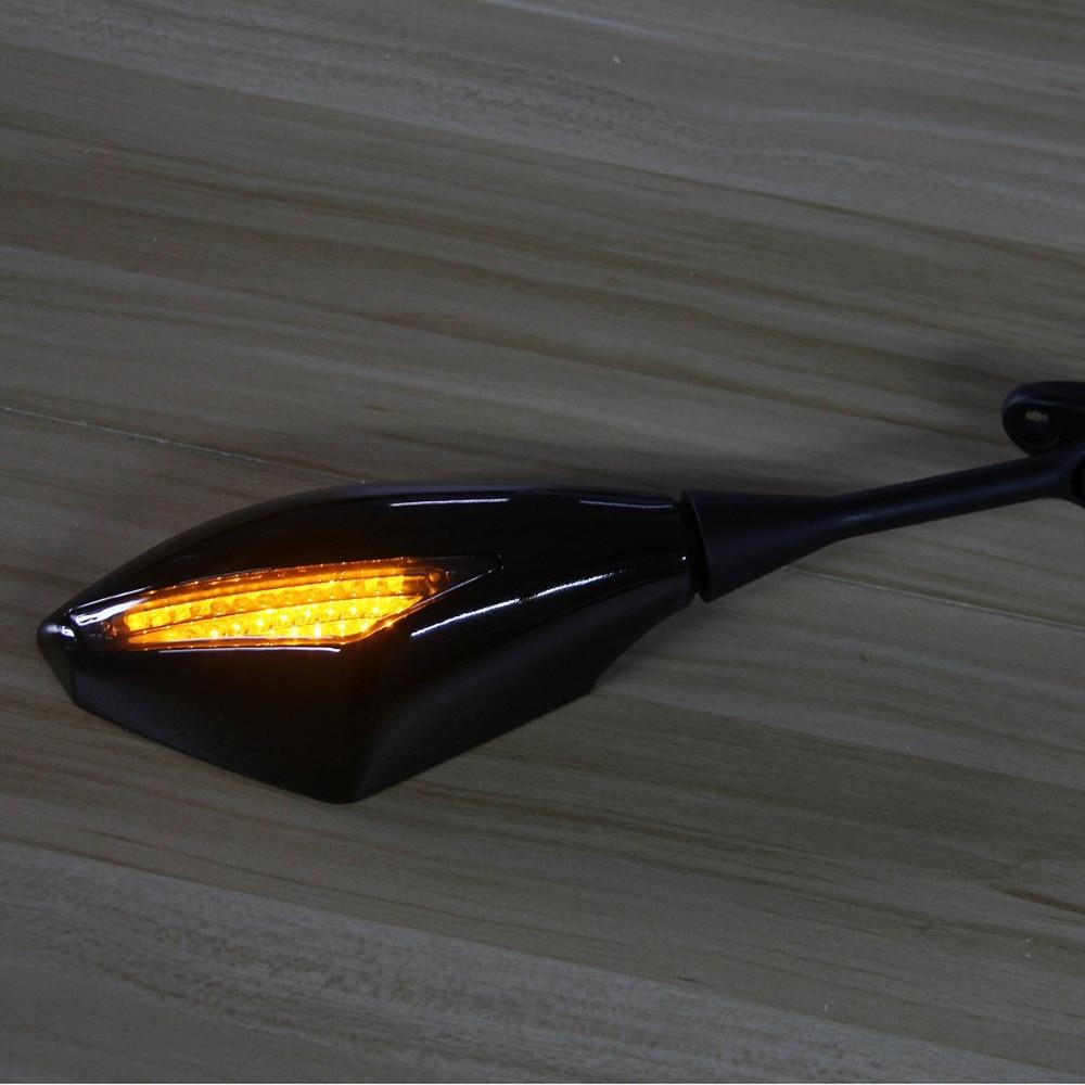 POSSBAY Motorcycle Mirrors Lights Turn Signal Indicator Cafe Racer Motorbike Side Mirrors For Honda CBR600RR CBR1000RR 2004-2008