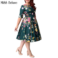 Women Dress Large Size 6XL 7XL 8XL Vintage Zipper Floral Printed Tunic Big Swing Dress Plus