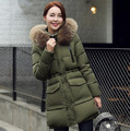 New Women Autumn&Winter Medium-long Down cotton Coat Outerwear big fur Hooded Female padded Jacket plus size T439