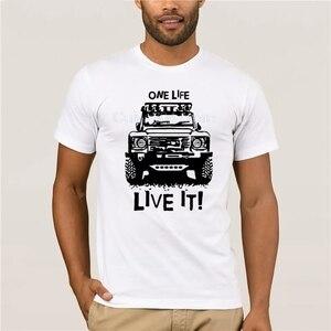 tshirt for mans Landrover Defender 90 110 One Life Live it Off Road Men Printing Short Sleeve Tshirt trend